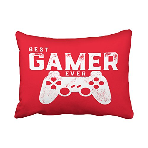 Emvency Decorative Throw Pillow Cover Standard Size 20x26 Inches Best Gamer Ever For Video Games Geek Pillowcase With Hidden Zipper Decor Fashion Cushion Gift For Home Sofa Bedroom Couch Car ¡