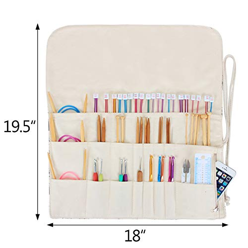 Teamoy Tunisian Crochet Hook Organizer Bag(up to 14 Inches), Cotton Canvas Roll Wrap for Afghan Crochet Hooks, Knitting Needles and Accessories, Tree by Teamoy (Image #8)