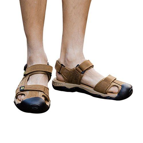Homme Loisir Chaussures Plage Marron sandales Antidérapant De Chaussures Cuir Été Meijunter Clair air Des plein Chaussons q5dRc