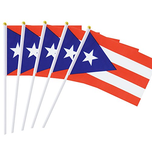 25 Pack Hand Held Small Mini Flag Puerto Rico Flag Puerto Rican Stick Flag Round Top National Country Flags,Party Decorations Supplies For Parades,World Cup,Festival Events ,International Festival (The Best Of Puerto Rico)