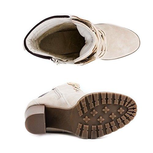 Marimo Damen Schnür Stiefel Stiefeletten Worker Boots mit Blockabsatz Beige Milan