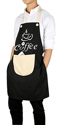 Coffee Apron - Bib Apron With Pockets - Premium Quality Unisex - Simple Style Café Apron - Black Coffee Apron - Designs by Flying Frog