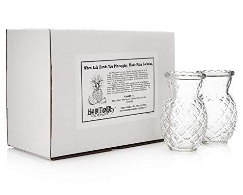 """Beach Party"" Piña Colada Tropical Cocktail Glass (Gift Box Set of 2)"