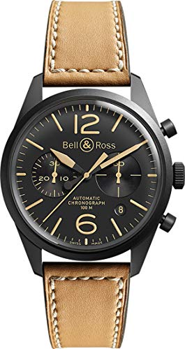 Bell & Ross Men's BR126-HERITAGE Vintage Black Chronograph Dial Watch with Brown -