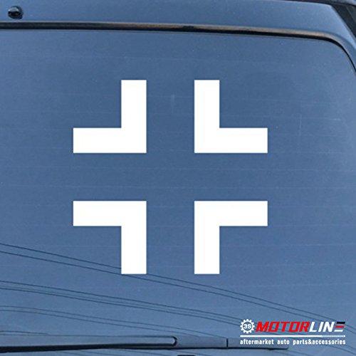 (3S MOTORLINE Iron Cross of German Armed Forces Wehrmacht Car Decal Sticker Balkenkreuz Vinyl (white, 12'')
