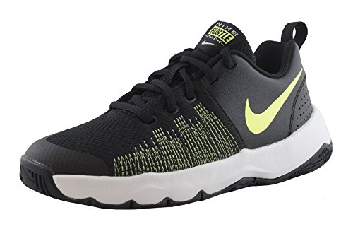 NIKE Boy's Team Hustle Quick (GS) Basketball Shoe Black/Volt/White Size 3.5 M US by NIKE
