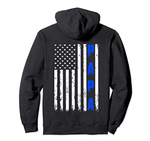 Father's Day Thin Blue Line Hoodie American Flag PAPA Tee