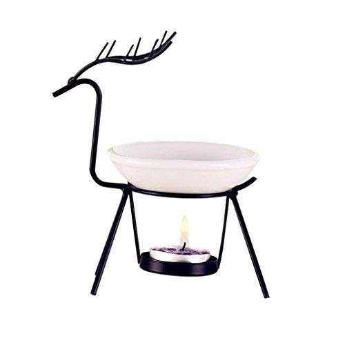 Stainless Steel Aromatherapy Burner - 89LOOK-Light Stainless Steel Deer Burner Candle Aromatherapy Oil Elk Dree Lamp Decorations Aroma Furnace (Black)