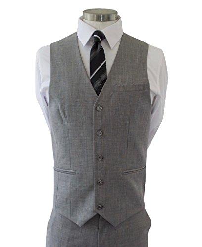 Alberto Cardinali Men's Sharkskin 3-Piece 2 Button Slim-Fit Suit w/ Matching Vest [Color: Light Gray | Size: 50 Regular / 44 Waist] by Alberto Cardinali (Image #5)
