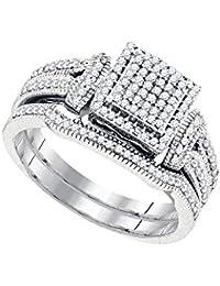 10kt White Gold Womens Diamond Cluster Bridal Wedding Engagement Ring Band Set 3/8 Cttw (I2-I3 clarity; J-K color)