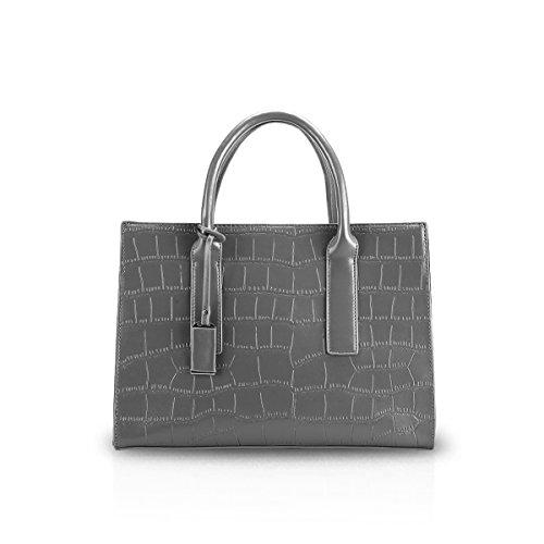 Crocodile Pattern Handbag Tote (NICOLE&DORIS Women Simple Top Handle Handbags Shoulder Bag Crossbody Bag Tote Satchel Crocodile Pattern PU Leather Gray)