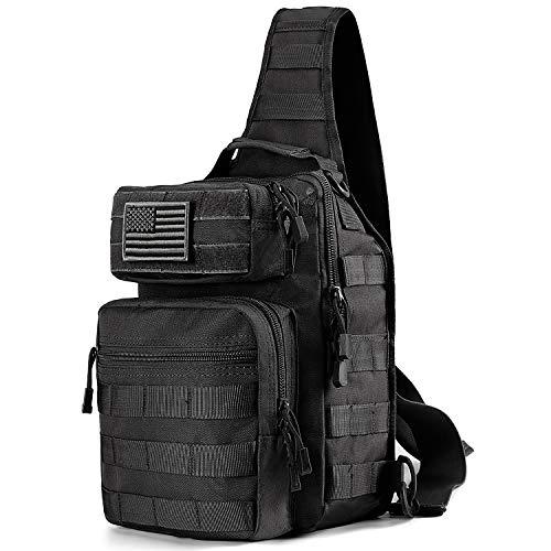 Prospo Tactical Molle Sling Backpack, Outdoor Military Small Rover Chest Shoulder Pack Women Men Development Range Bag EDC One Strap Daypack Hiking Camping Trekking(Black)