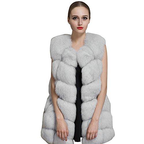 Fami Femmes d'hiver Outwear chaud Veste mince, veste de fourrure de fausse fourrure de fourrure Beige