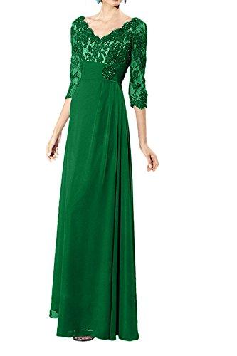 Lang Spitze Abendkleider Brautmutterkleider Partykleider Grün Promkleider La Festlichkleider Traumhaft mia Langarm Braut qxwHv1t