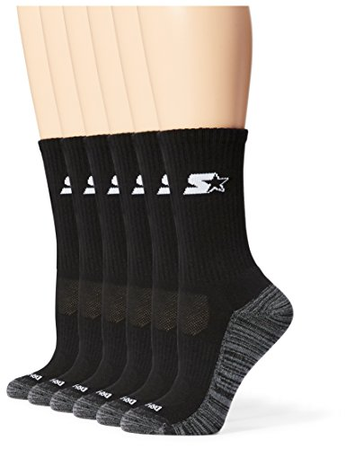 Starter Women's 6-Pack Athletic Crew Socks, Amazon Exclusive, Black, Medium (Shoe Size 5-9.5)