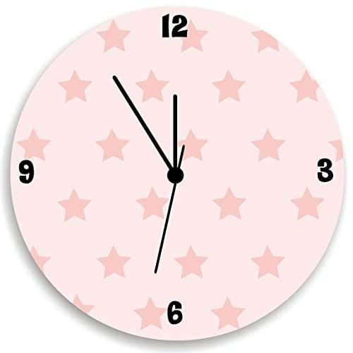 Grey Nursery Wall Hanging with Stars Stars Wall Clock for Children Bedroom Stars Pattern Wall Clock