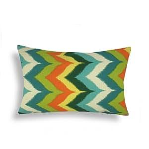 Domusworks Chevron Lumbar Pillow, Teal/Orange