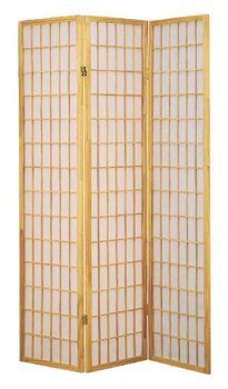 Legacy Decor 3-panels Folding Shoji Screen Room Divider, Natural Color ()
