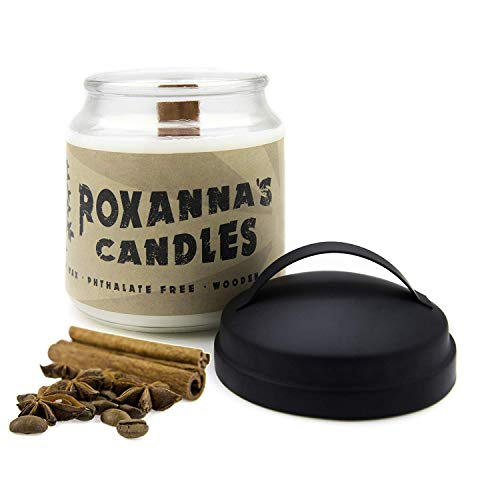 (Cinnamon Scented Soy Candle with Crackling Wooden Wick | Handmade Artisan Scented Natural Fragrances Infused with Essential Oils, Non-GMO Wax, Large 16oz Jar 120+ Hours Burn Time, Aromatherapy Candles)