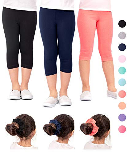 (DEAR SPARKLE Girls Capris 3 Pack Cotton Solid Colors + Matching Hair Ties | Sizes 3-10 (9-10,)