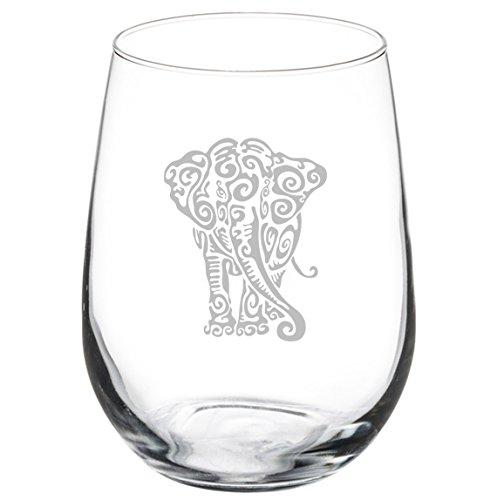 Elephant Shot Glass - 17 oz Stemless Wine Glass Tribal Elephant