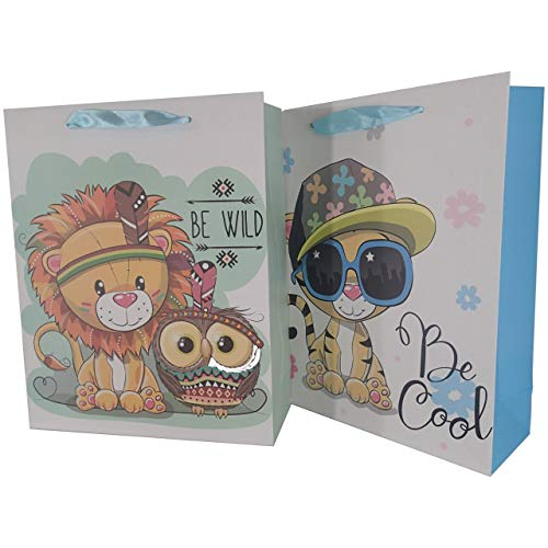 LARUX Happy Birthday Baby Shower Boy and Girl Gift Bag with Tissue Paper Greeting Card Envelop Dot Sticker Long Lasting Medium Size Set of 2 (Lion Tiger)]()