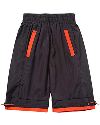 Welity Boys' Girls' Athletic Workout Gym Running Shorts with Pockets, Beach Board Short for Youth Boys & Girls, Black, 13-14 Years=Tag 170 by Welity (Image #6)