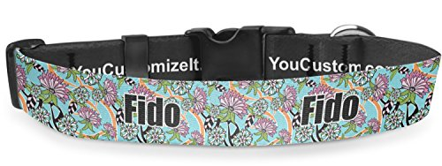 RNK Shops Summer Flowers Deluxe Dog Collar - Toy (6'' to 8.5'') (Personalized) by RNK Shops