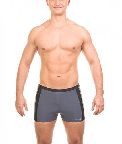 AQUA-SPEED® JASON Herren Badehose (S-XXXL Badeshorts Pants Perfect Fit Modern UV-Schutz Fusselfrei Chlorresistent) , Farbe:Gray/Black/Gren Piping;Größe:M