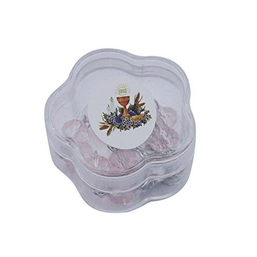 (First Communion Rosaries Bracelet Party Favor Pink (12 PCS) - Crystal Bracelet with Chalice Charm/ Recuerdos para Primera Comunion Rosarios/ Girl Niña)