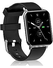 """Smartwatch - Reloj Inteligente Hombre Mujer con 1.7"""" Táctil Completa - Pulsera Actividad 7 Modos Deporte con Monitor de Temperatura Corporal   Oxígeno Sanguíneo   Presión Arterial   Frecuencia Cardíaca   Monitor de Sueño   Cálculo de Pasos   Reloj Inteligente para Android iOS"""