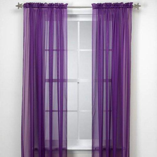 2 Piece Set 63″ Long Solid Sheer Curtains Panels Window Drape (Purple)