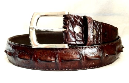Joy-nin Full Big Alligator Crocodile Hornback Skin Leather Brown Mens Belt (Hornback Crocodile Belt)