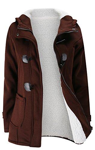 Allonly Women's Cotton Berber Fleece Lining Zip-Up Buckle Thicken Jacket Coat (Berber Coat)