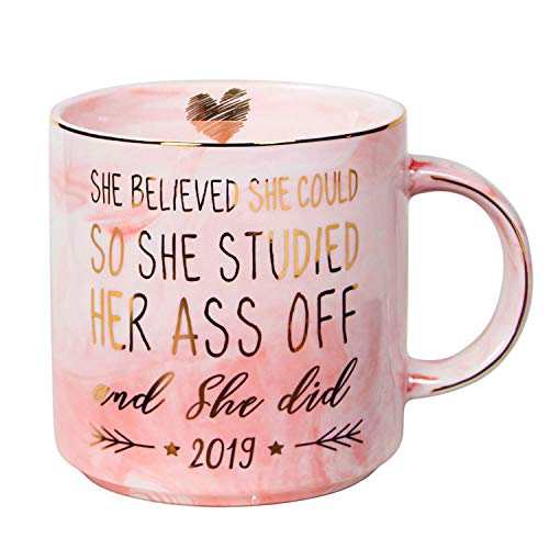 Vilight 2019 Graduation and Congratulations Gifts for Her - She Believed she could So She Did - Pink Marble Ceramic Coffee Mug 11oz