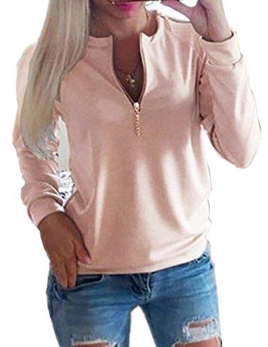 C.X Trendy Women's Solid Long Sleeve Crew Neck Zipper Pullover Sweatshirt Blouse Tops for cheap