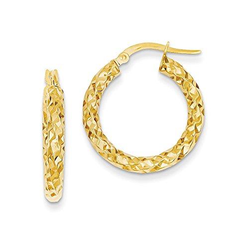 Premier 14k 3mm textured round hoop earrings