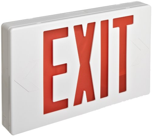 Morris Products 73010 LED Exit Sign, Standard Type, Red LED Color, White (Classic White Exit Signs)