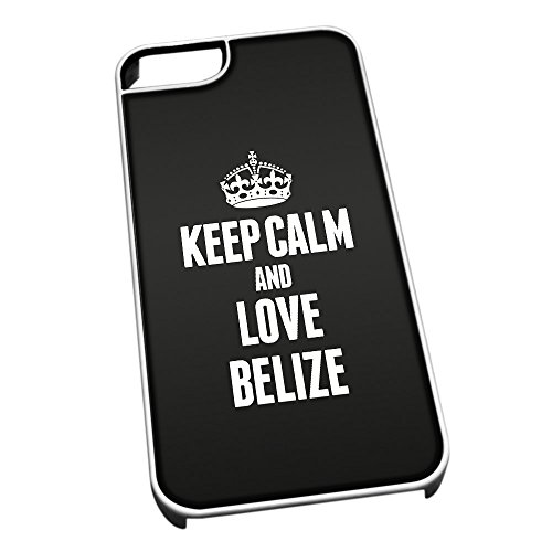 Bianco cover per iPhone 5/5S 2157nero Keep Calm and Love Belize
