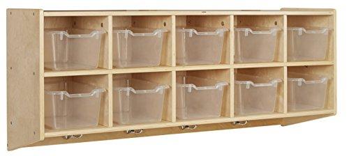 ECR4Kids 10-Cubbie Birch Hardwood Wall Mount Hanging Coat Locker with Clear Bins by ECR4Kids