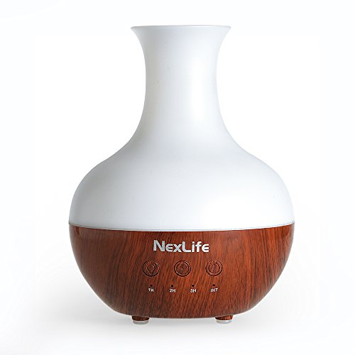 NexLife Nature Mist Oil Diffuser Ultrasonic 250ml Aroma Cool Mist Humidifier with 7 Color LED Lights, Waterless Auto Shut-off, Wood Grain, Vase Type BPA Free Air Purifier for Home Bedroom SPA -