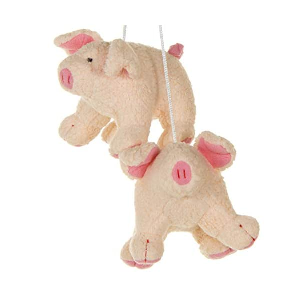 2 Pack of Pink Pigs Crib Mobile Attachments | Hanging Plush Animal Decorations for Baby Girl or Boy Playpen or Crib | Accessories for Use with Mobile Hanger Sold Separately