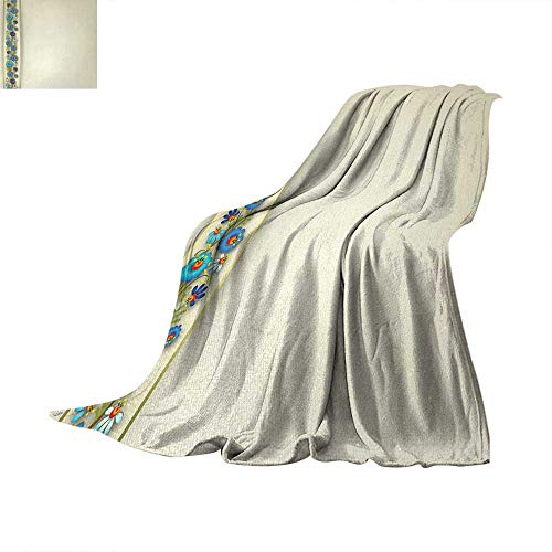 Anhuthree Off White Digital Printing Blanket Grunge Background and Vertical Border Detail with Blue Spring Blossoms Print Artwork Image 60