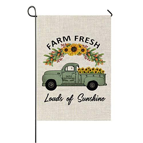 Green Summer Garden - Faromily Vintage Truck with Sunflowers Garden Flag Vertical Double Sided Farm Fresh Loads of Sunshine Burlap Garden Yard Lawn Outdoor Decoration 12.5 x 18 Inch (Farm Fresh Sunflower)