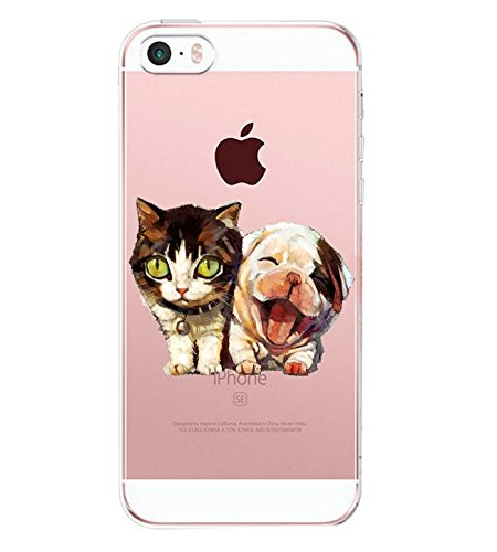 Yimer iPhone SE Case, iPhone 5s Ultra Thin Soft Rubber TPU Animals Cats Girls Protective Cover (A) (Best Protective Cover For Iphone 5s)
