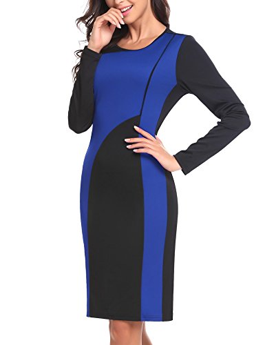 ANGVNS Business Blue Royal Long Bodycon Pencil Women's Neck Patchwork Scoop Sleeve Dress rZrnP