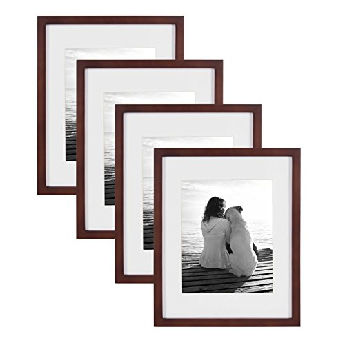 (DesignOvation Gallery Wood Photo Frame Set for Customizable Wall Display, Pack of 4, 11x14 matted to 8x10, Walnut Brown)