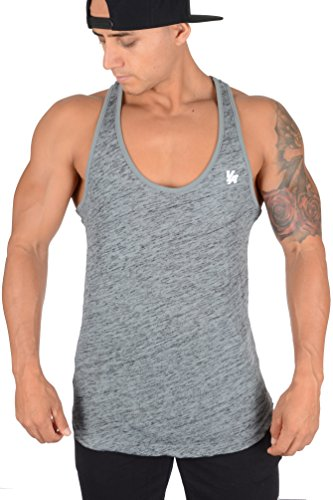 YoungLA Mens Stringer Gym Tank Top Muscle Bodybuilding Powerlifting 302 (Sage Black, Medium)