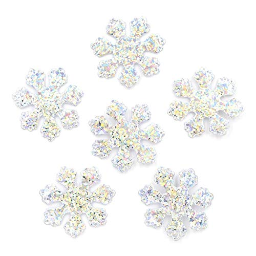 (120 Pieces Glitter Silver Snowflake Cloth Appliques Sewing On Christmas Decor Accessories Popular Clothing Bag Hat DIY Patches)