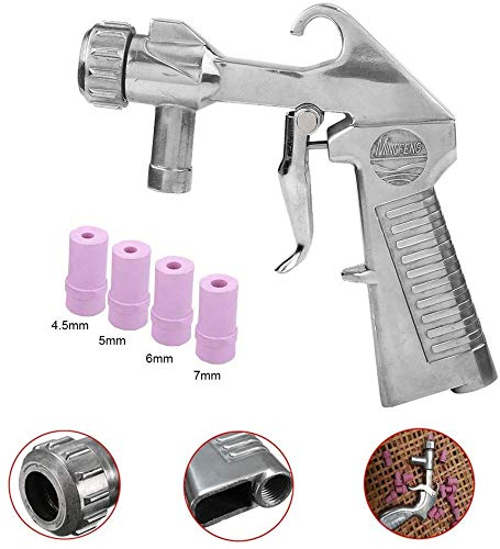 Sandblaster Air Siphon Feed Blast Gun Nozzle Ceramic Tips Abrasive Sand Blasting with 4 Ceramic Nozzle